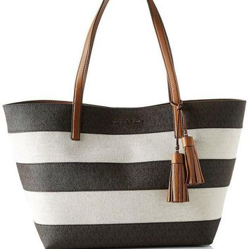 Michael Michael Kors Women's Stripe Canvas Tote Bag Brown