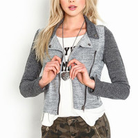 Gray Moto Knit Jacket - LoveCulture