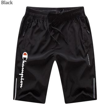 Champion 2018 summer new men's sports and leisure solid color beach pants Black