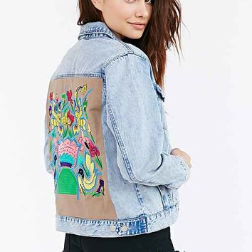 Native Rose Hummingbird Denim Jacket- Vintage Denim Light