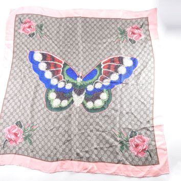 GUCCI GG Butterfly Flower Scarf 90 Silk Pink Beige Multicolor Japan Limited 6339