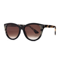 Flattery Cat-Eye Sunglasses, Black Leopard