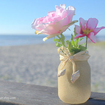 Beach Wedding Sand Covered Pint Sized Mason Jar Votive Candle Holder - Raffia and Sea Shells - Glass Recpetion Decor Eco Natural