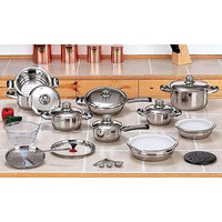 28pc 12-Element High-Quality Heavy-Gauge Stainless Steel Cookware Set $1100 MSRP