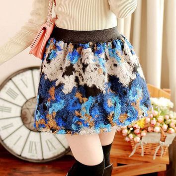 Winter Vintage Ball Gown Floral Short Wool Blend Skirt