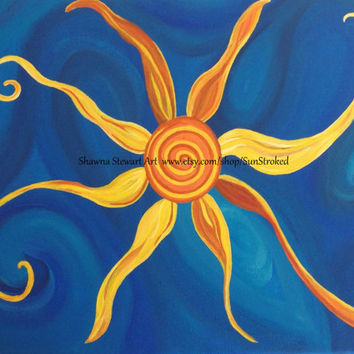 PRINT, Happy Swirly Sun Energy, abstract acrylic energy art, happy art, FREE shipping