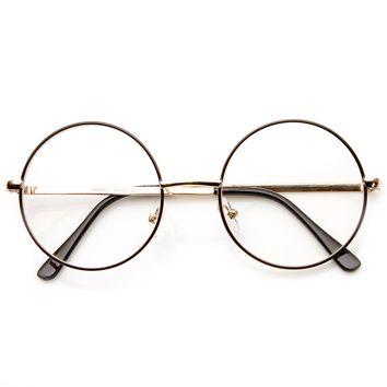 Lennon Mid Size Full Metal Frame Clear Lens Round Glasses