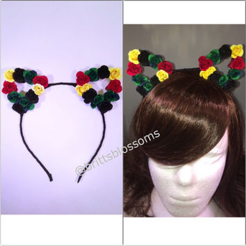 Rasta Floral Cat Ears, Cat Ears, Flower Cat Eats, Flower headband, Flower halo, Flower crown