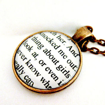 The Catcher In The Rye Quotes Book Page Necklace The Thing About Girls Upcycled Altered Book Art Jewelry Classic Literature for Book Lovers