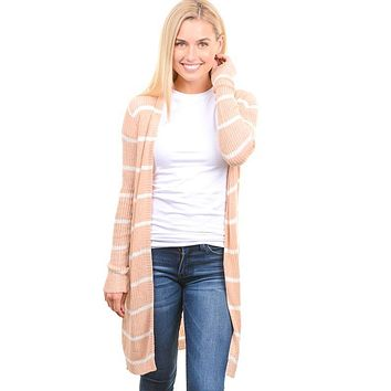 Beige Striped Ribbed Open Cardigan