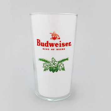 "1950's Vintage / Budweiser Beer Glass / Pilsner Glass / 8oz / 4-3/4"" / Green Acorn Sprig / King of Beers / Anheuser Busch / Eagle A Logo"