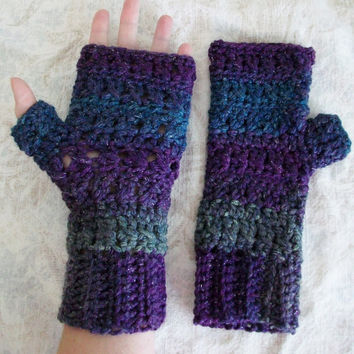 Sparkly Purple Fingerless Gloves Starry Night Crochet Multi-Color Texting Mittens Rustic Boho Style