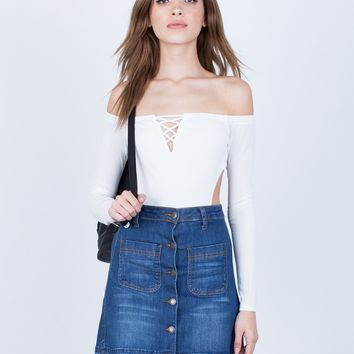 Off-the-Shoulder Cut Out Bodysuit