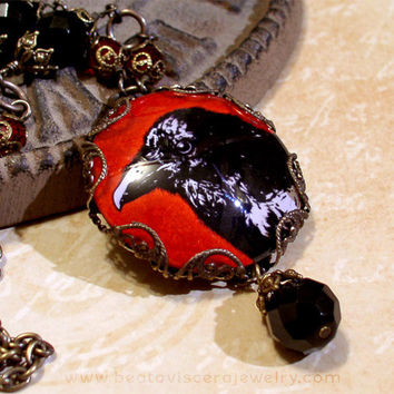 Picture Necklace - Gothic Crow Raven Bird Necklace Glass Picture Pendant Red Black Filigree Necklace Neo Victorian Gothic Vintage Style