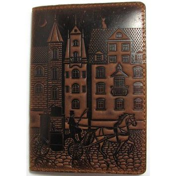 Leather handmade cover for a passport, Handmade cover for documents, Old city pattern