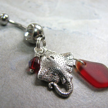Sea Glass Jewelry, Stingray Belly Button Rings, Manta Ray Beach Belly Ring, Surgical Steel Belly Bar 14 GA Cute Belly Rings, Red Jewelry