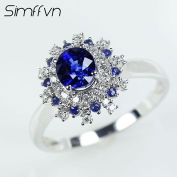 Simffvn 18K White Gold 0.98CT Round Cut Natural Blue Sapphire Halo Rings For Women Engagement Ring Gemstone Bridal Ring