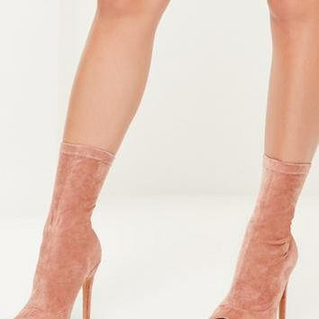 Missguided - Pink Faux Suede Peep Toe Platform Boots