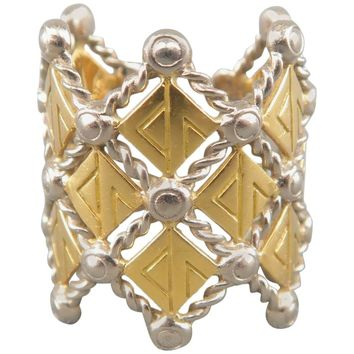 LOUIS VUITTON 7 18k Gold & Silver Blason by Pharrell X Camille Miceli Crown Ring