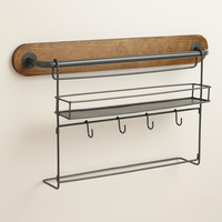 Modular Kitchen Wall Storage Spice Rack with Cup Hooks - World Market