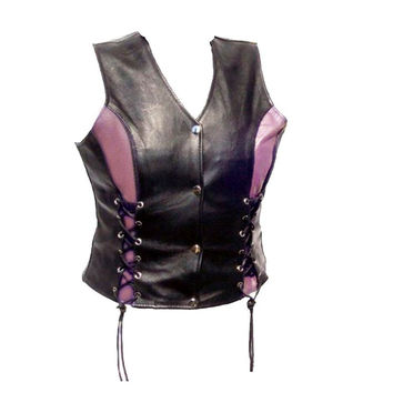 Womens Motorcycle Naked Leather Vest Black with Light Purple Accents and Side Laced