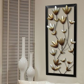Stratton Home Decor Metallic Floral Panel Wall Decor