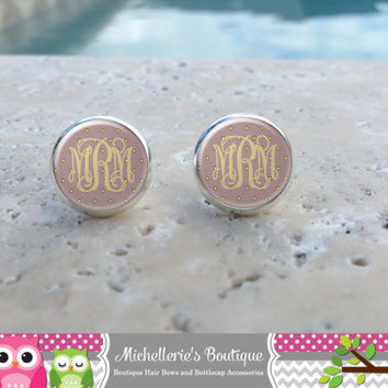 Soft Purple and Gold Polka Dot Monogram Earrings, Monogram Jewelry, Monogram Accessories, Monogram Studs, Monogram Leverback,Bridesmaids