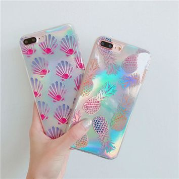 Metallic Gold Pineapple Holographic Seashell Case For iPhone 6 6s 6plus 7 7plus Protective Fashion Cases