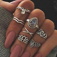 Retro hollow carved large gems lotus shape 7-piece combination ring