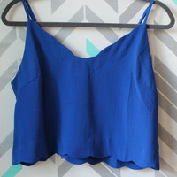 Steal the Show Scalloped Edge Crop Top Blouse - Royal Blue