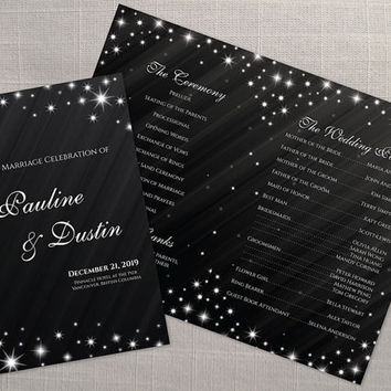 DIY Printable Wedding Program Template | Editable MS Word file | 8.5 x 11 | Instant Download | Winter New Years Heaven Sparkles Black