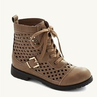 Taupe Diamond Cutout Combat Boot