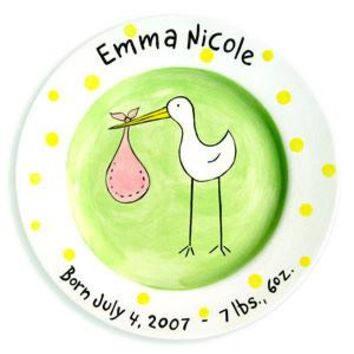 Baby Girl Stork Personalized  Ceramic Plate