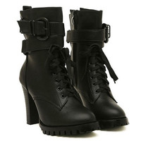 Black Lace Up and Buckle Design Boots with Chunky Heel