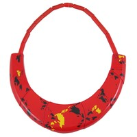 Vintage 1980s Guillemette L'Hoir Paris Red Galalith Choker Necklace