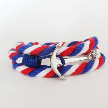 FREE SHIPPING, Anchor bracelet, Cotton bracelet,Nautical bracelet, Anchor cotton bracelet, Rope bracelet