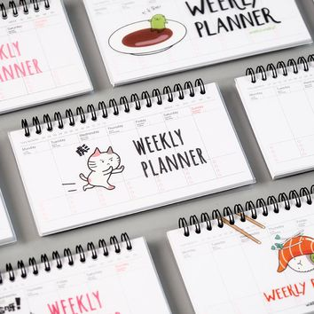 Cute Cartoon Weekly Planner Coil Notebook Schedule Agenda Filofax For Kids Gift Mini Kawaii Stationery 50 Sheets100Pages
