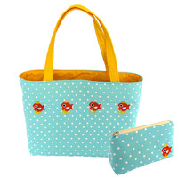 BAG SET Magikarp pokemon tote bag and cosmetic pouch set embroidery with pocket kawaii cute japan harajuku