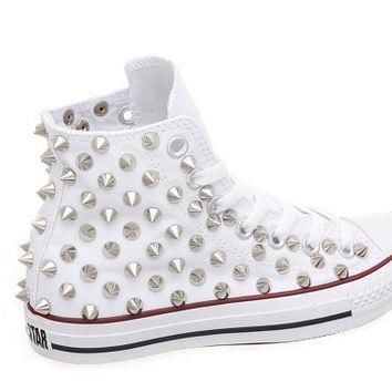studded converse converse high top with silver cone rivet studs by customduo on etsy