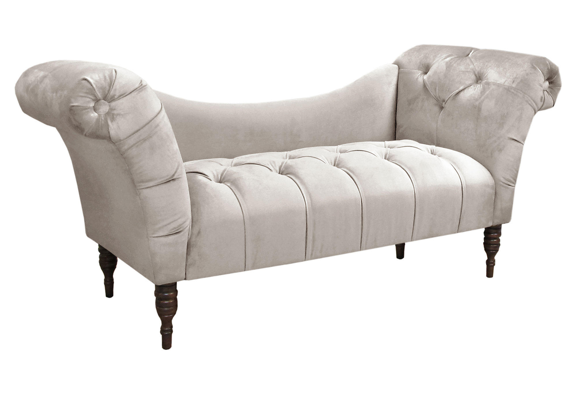 Cameron 74 velvet tufted chaise gray from one kings lane for Button tufted chaise settee velvet