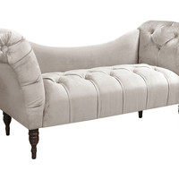 Cameron Velvet Tufted Chaise, Gray, Chaise Longues