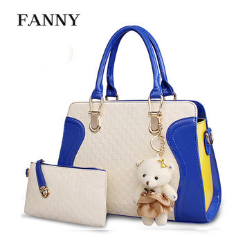Brand Fashion Woman Shoulder Bag Promotional Ladies Luxury PU Leather Crossbody Bags Womens Handbags with free lovely bear F007