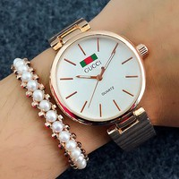 Gucci Woman Men Fashion Print Watch Business Watches Wrist Watch Rose golden +White Watch Dial  G-Fushida-8899