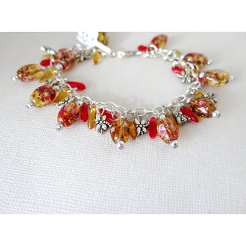 Dragonfly Fall Parties Charm Bracelet - Fall Style - Party Splatter Bead Amber Red Glass Pewter Silver
