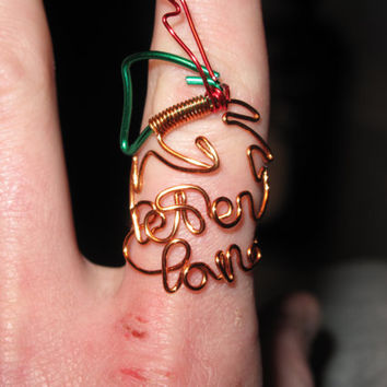 Wire Wrapped PETER PAN Spelled Peter Pan MADE to Order Ring