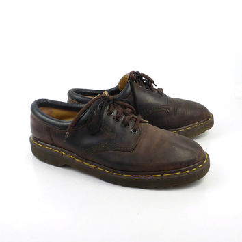 Doc Martens Oxfords Vintage 1990 Distressed Brown Leather Oxfords Shoes UK size 11