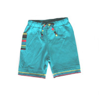 Boys summer shorts,   turquise blue,  organic cotton toddler shorts,  knee length shorts, shorts blue
