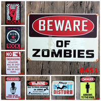 Beware of Zombies Forget the Dog Beware the Owner Rock Star No Trespassing Please do not Disturb Pop Art Wall Poster Sign