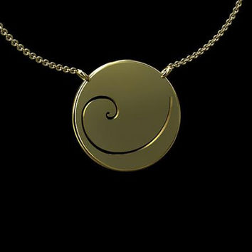 14K Yellow Gold Fibonacci Spiral Phi Golden Ratio Pendant Necklace