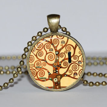 Art Tree of life Pendant, Gustav klimt Tree of life Necklace, Tree of life Jewelry, Tree of life charm, Art pendant